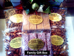 Family Gift Box, Savory Almonds, Almond Bark, Dark Chocolate, Milk Chocolate, Butterscotch