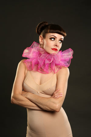 Pink Luxury Organza Neck Ruffs Circus Costume