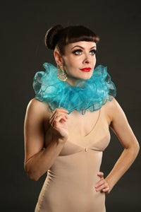 Turquoise Luxury Organza Neck Ruffs Circus Costume