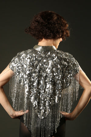 1920 Silver Embellished Beaded Great Gatsby Cape Fringe Top