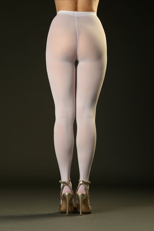 White Opaque Tights Pantyhose 50 denier