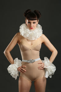 Ivory Silk Circus Costume Sets with Belt ruffle and cuffs