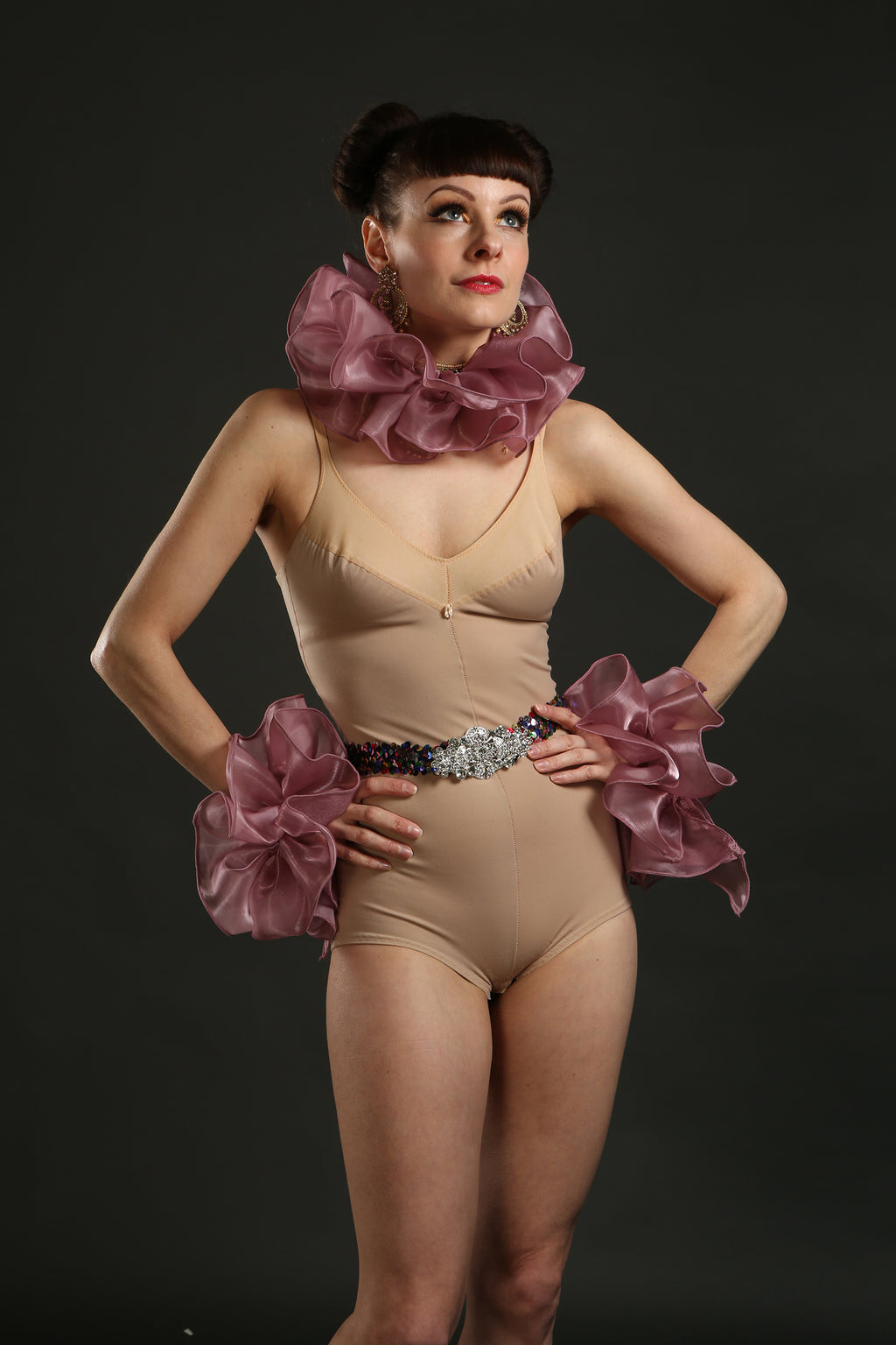 Purple Silk Circus Costume Sets with Belt ruffle and cuffs