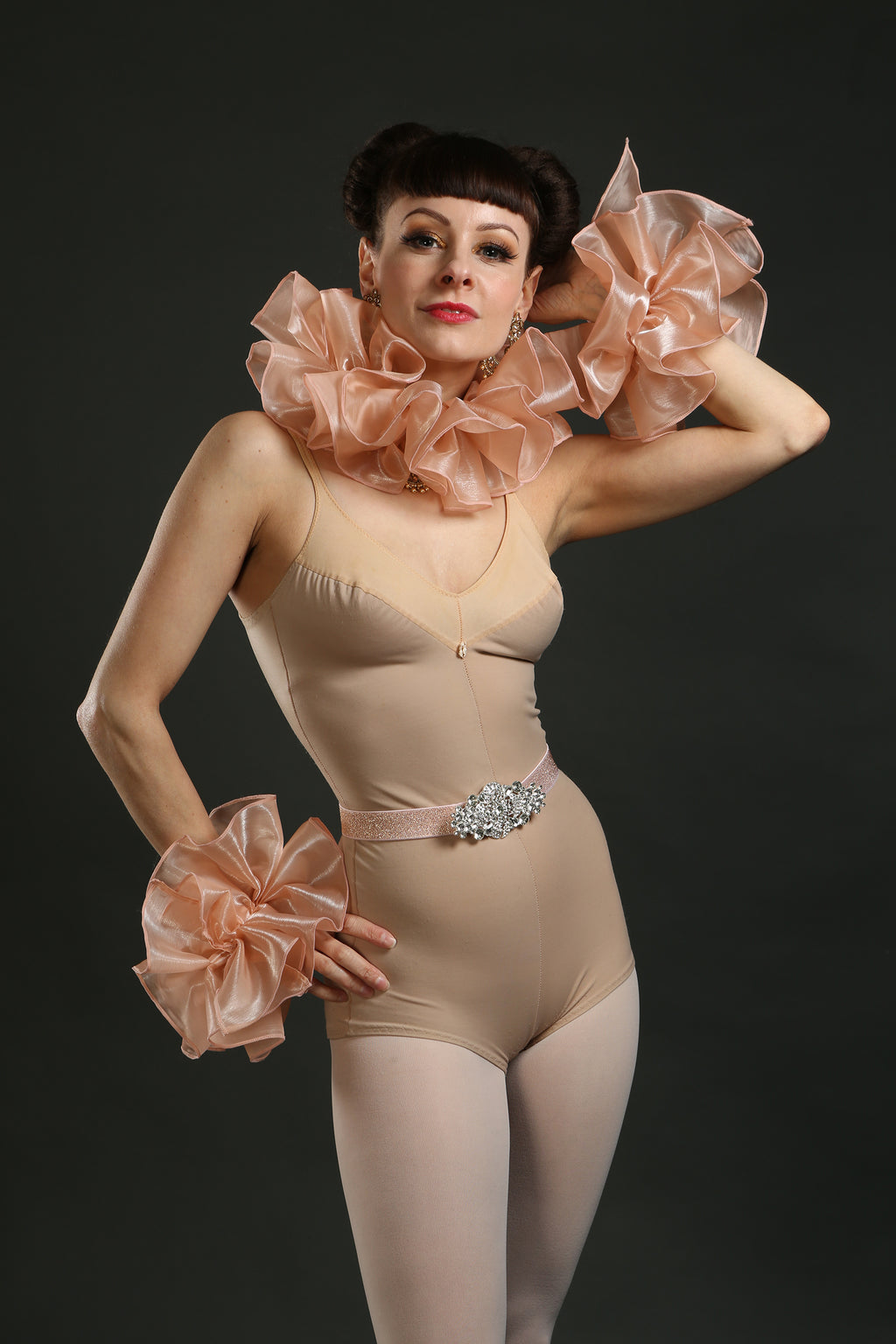 Silk Circus Costume Sets with Belt ruffle and cuffs