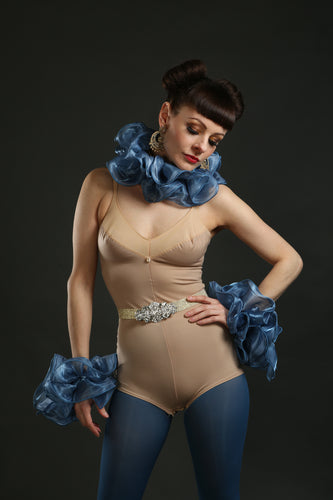 blue Silk Circus Costume Sets with Belt ruffle and cuffs