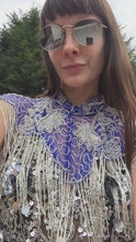 Load and play video in Gallery viewer, Blue & Silver Sequin Tassel Cape
