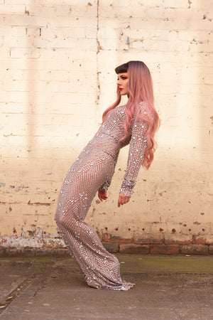 floor length gem evening dress showgirl drag burlesque costume
