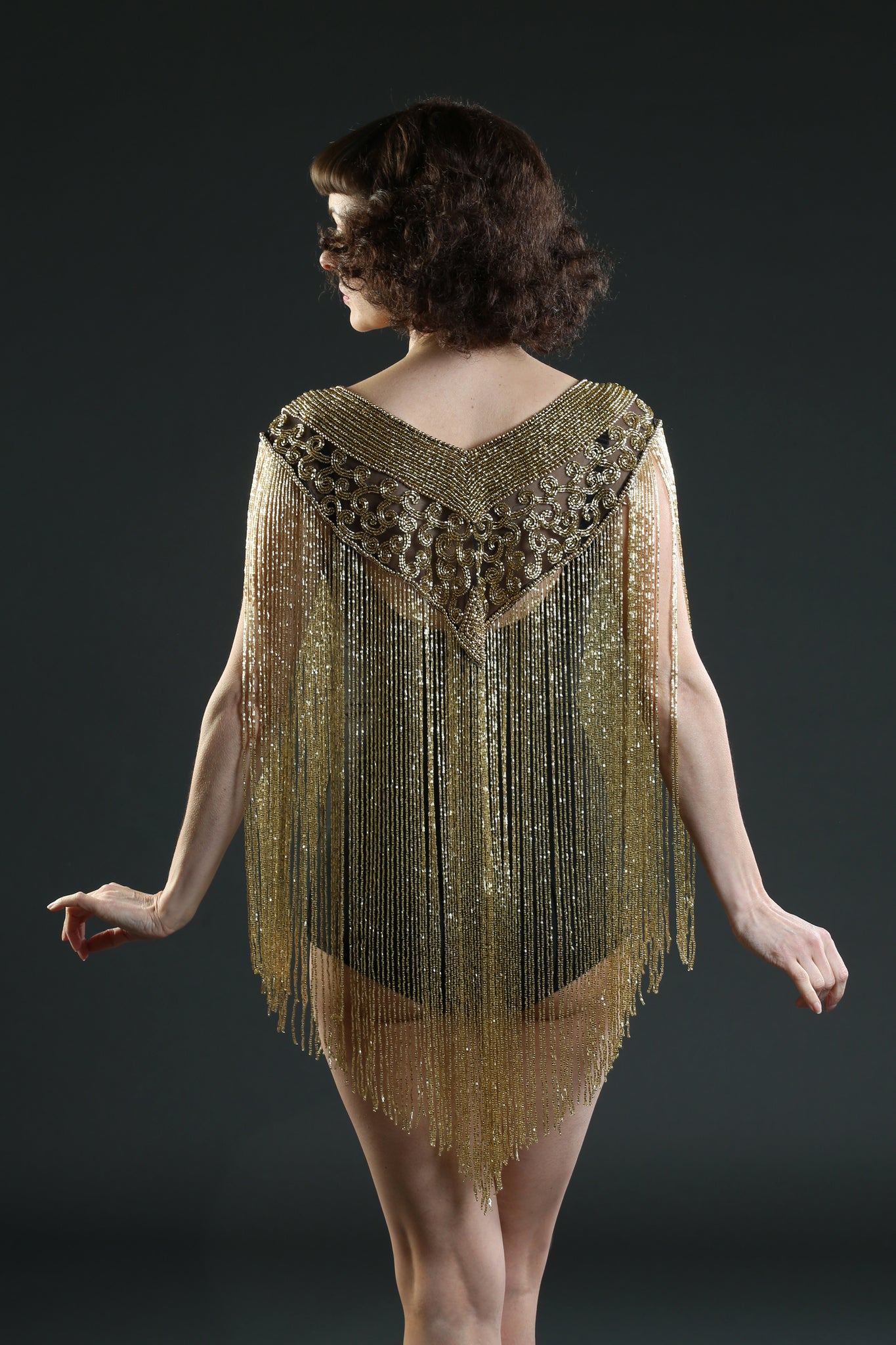 black gold long fringe collar cape