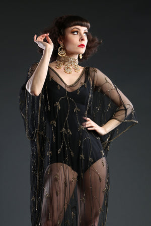 Black Sheer beaded Kaftan