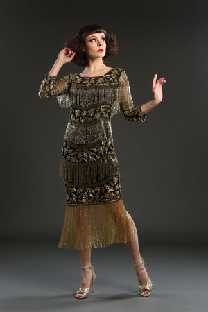 Black Gold Art Deco Beaded 1920s flapper Dress