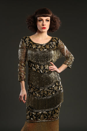 Black Art Deco Beaded Dress