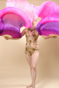 Veil Silk Fans ~ Dip dye pink & purple ~ for belly dance burlesque and circus Costume