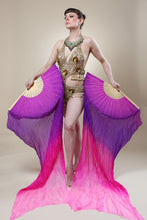 Load image into Gallery viewer, Veil Silk Fans ~ Dip dye pink & purple ~ for belly dance burlesque and circus Costume