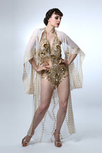 Load image into Gallery viewer, Gold Sequin Showgirl Leotard ~ Bellydance Circus Embellished Costume
