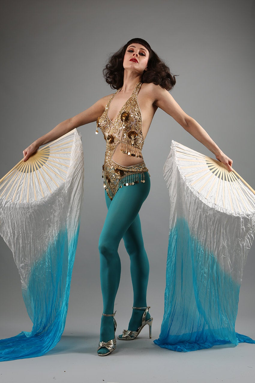 Veil Silk Fans ~ Dip dye blue & white ~ for belly dance burlesque and circus Costume