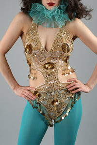 Gold Sequin Showgirl Leotard ~ Bellydance Circus Embellished Costume
