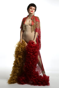 1920 style beaded flapper red and gold  cape great Gatsby outfit