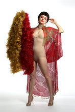 Load image into Gallery viewer, 1920 style beaded flapper red and gold  cape great Gatsby outfit