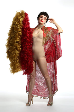 burlesque organza boa in old gold Talulah Blue Creations ~ Burlesque Costumes red