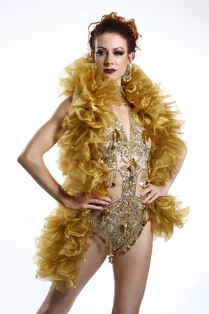 burlesque organza boa in old gold Talulah Blue Creations ~ Burlesque Costumes