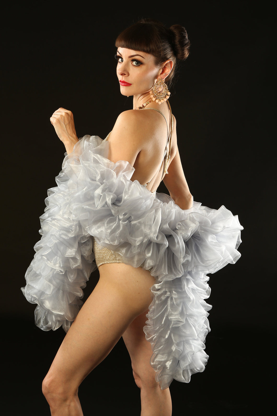 Silver Burlesque Organza Boa ~ vegan ~ cabaret and drag costume
