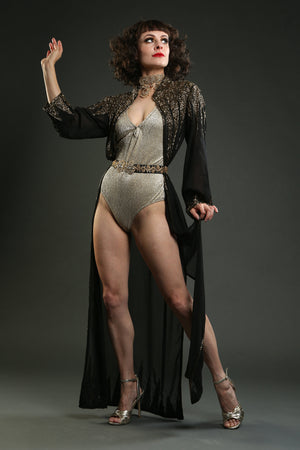 Black Embellished Gown Overcoat circus costume showgirl