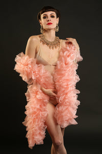 peach organza burlesque boa 7ft foot Talulah Blue Creations Costumes cabaret