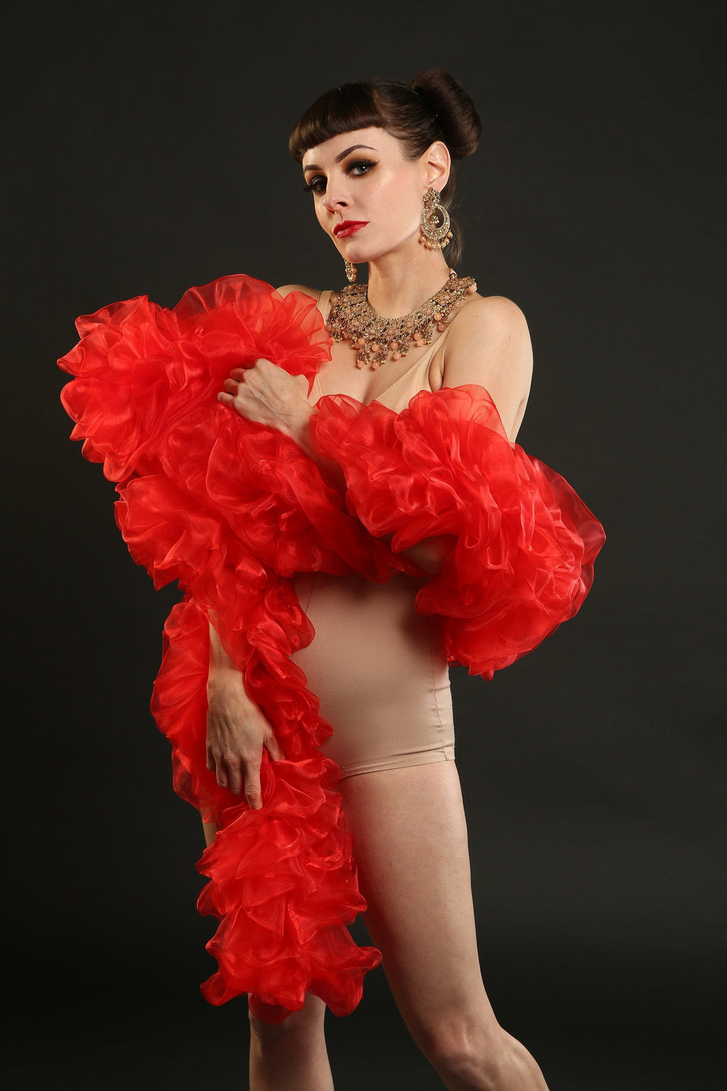 Red Burlesque Organza Boa ~ vegan ~ cabaret and drag costume