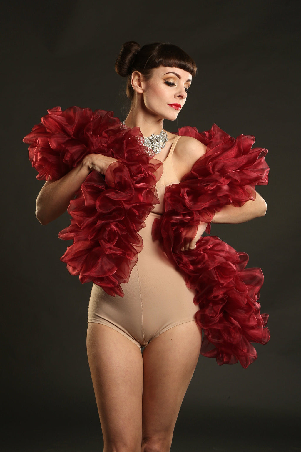 burlesque organza boa in burgundy Talulah Blue Creations ~ Burlesque Costumes