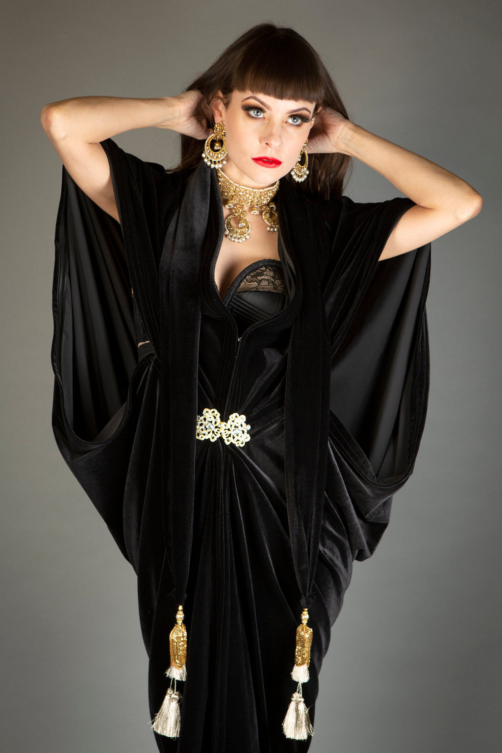 1920s Velvet Great Gatsby Black Dress - Floor length flapper Cocoon coat
