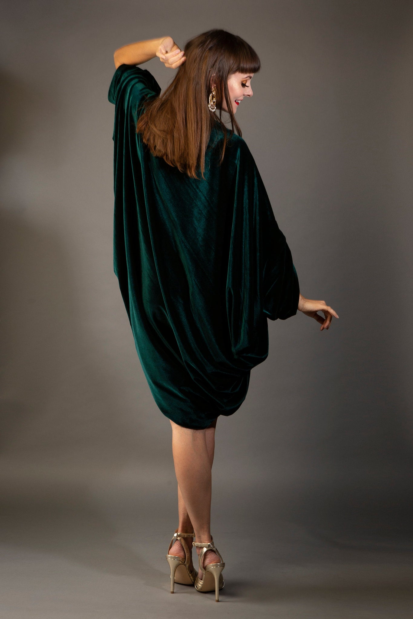 Forest Green Velvet Cardigan Shrug ~ 1920s style Cocoon coat
