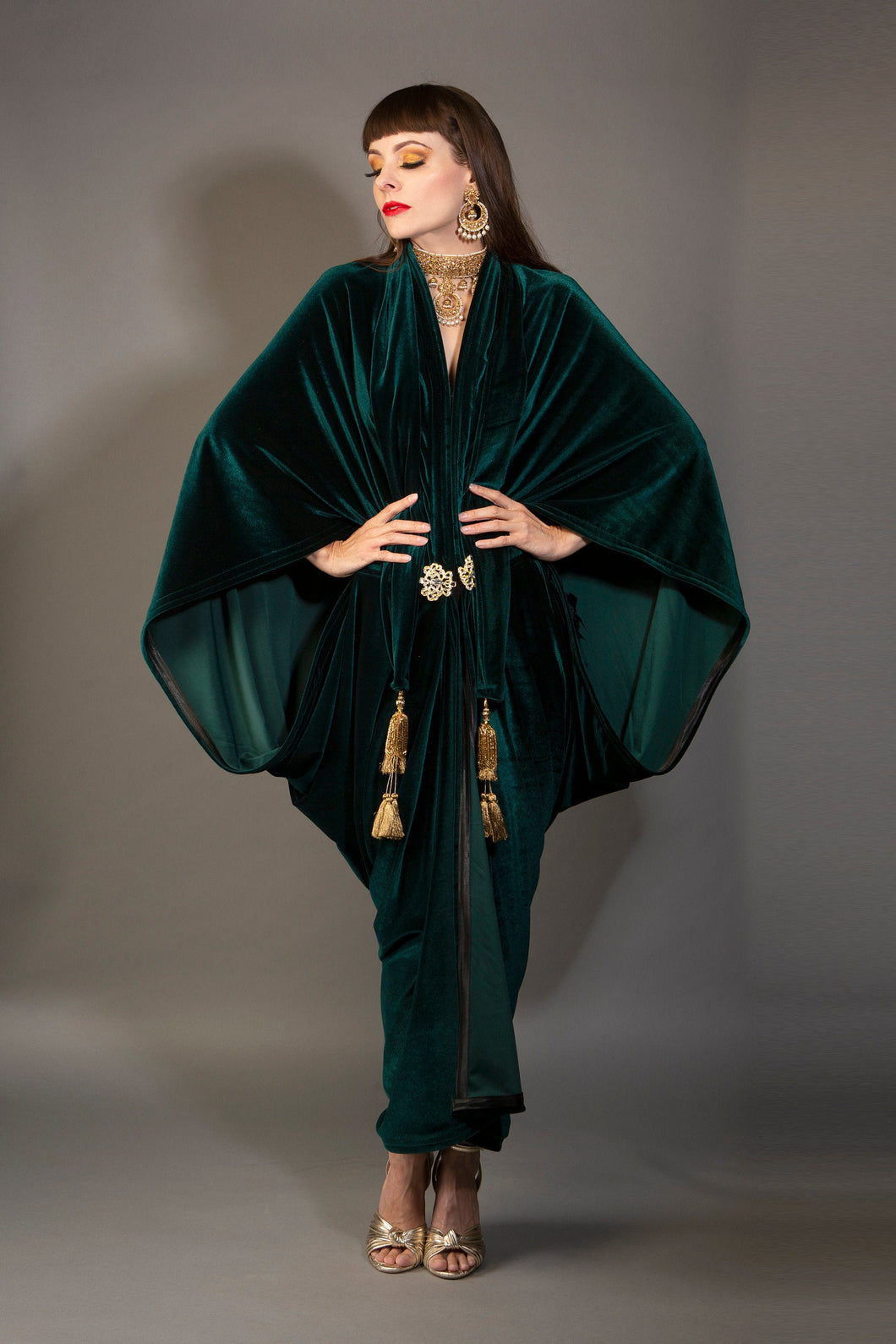 1920s Green Velvet Great Gatsby Dress - Floor length flapper Cocoon coat
