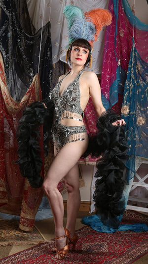 silver black 1920 dance leotard flapper outfit festival fashion