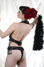 Load image into Gallery viewer, Black Sequin Showgirl Leotard ~ Bellydance Circus Embellished Costume