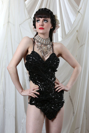Black Sequin Showgirl Leotard