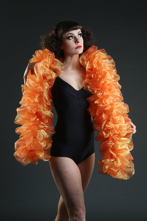 orange and yellow organza vegan boa burlesque costume