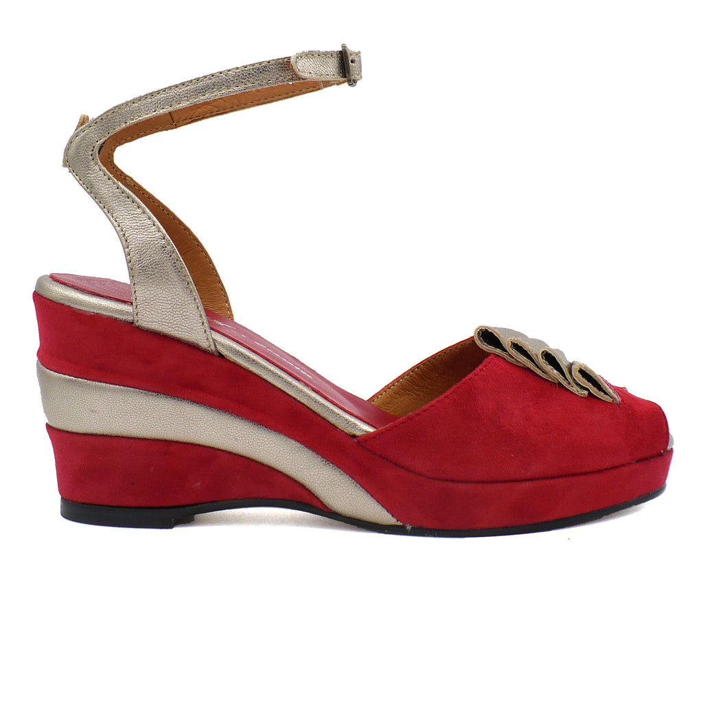 Fanfare Re Mix Vintage Shoes High Heels Glamour Suede Red Wedges
