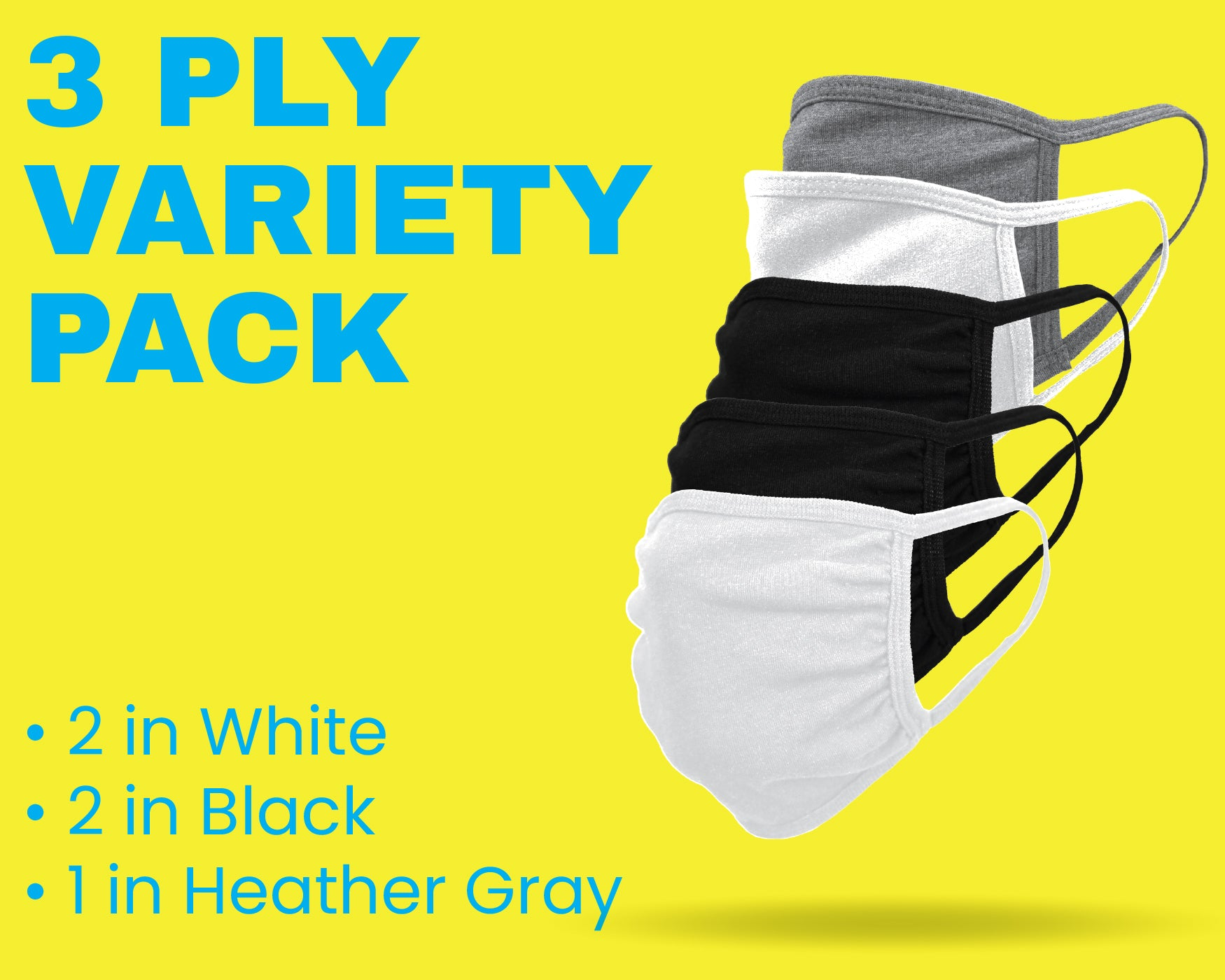 3-Ply Cloth Face Mask Variety 5-Pack