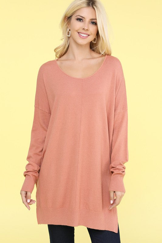 Melody V-Neck Sweater - Dusty Pink
