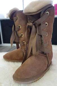 Ladies Long Classic Boots with Front Lace Ups