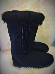 Ladies Long Viking Boots with Side Laces