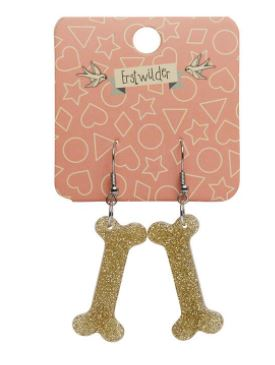 Erstwilder Dino Bones Glitter Gold Earrings