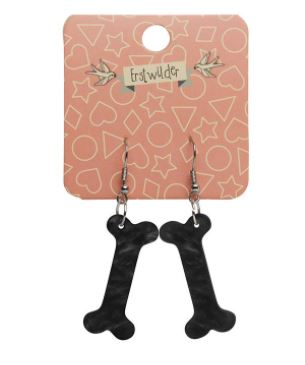 Erstwilder Dino Bones Ripple Black Earrings