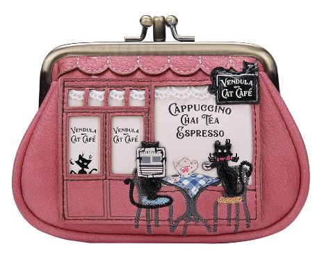 Vendula Cat Café Clipper Coin Purse