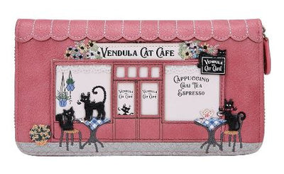 Vendula Cat Café Large Zip Around Wallet