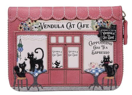 Vendula Cat Café Small Zip Around Wallet