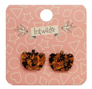 Erstwilder HWE Pumpkin Chunky Glitter Stud Earrings Orange