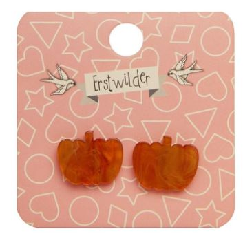 Erstwilder HWE Pumpkin Ripple Stud Earrings Orange