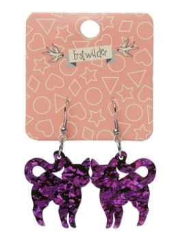 Erstwilder HWE Pussy Cat Chunky Glitter Drop Earrings Purple
