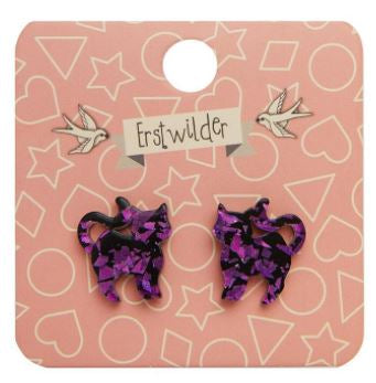 Erstwilder HWE Pussy Cat Chunky Glitter Stud Earrings Purple